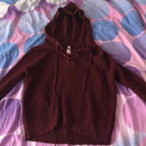 Maroon sweater with hood